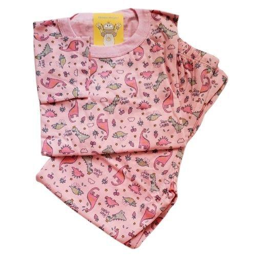 Pijama Infantil Malha 100% Algodão - 4 ao 8 - Dinos Rosa