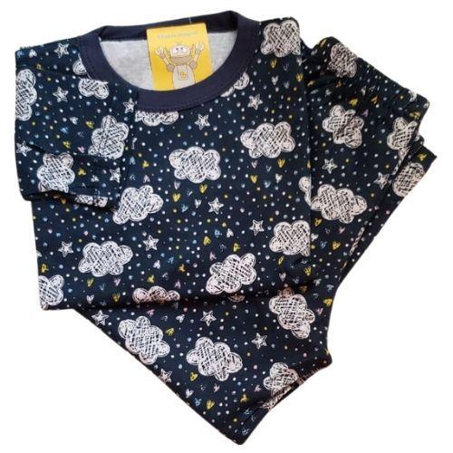 Pijama Infantil Malha 100% Algodão - 4 ao 8 - Chuva de Amor Marinho