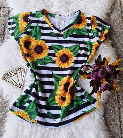 Camiseta Feminina Floral no atacado Girassóis e Listras