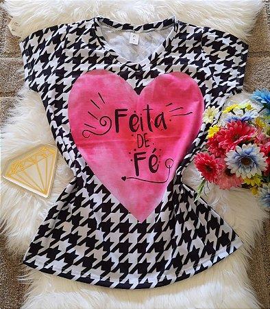 T shirt Feminina Religiosa Feita de Fé
