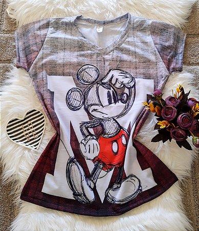 Camiseta Feminina Personagem No Atacado Mickey Rabiscos