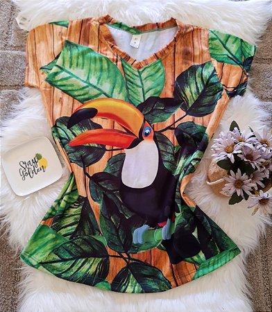 Blusa Feminina Estampa Animal no Atacado Tucano e Folhas