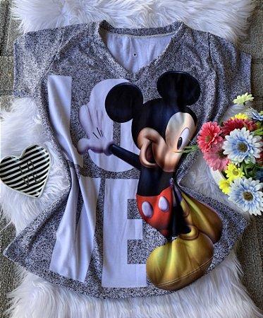 Camiseta Feminina Personagem No Atacado Mickey Love