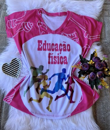 T shirt Feminina Profissão no Atacado Educação Física fundo rosa