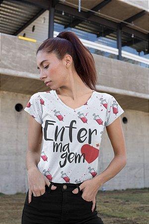 T shirt Feminina Profissão no Atacado Enfermagem seringas
