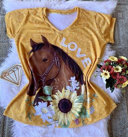 Blusa Feminina Estampa Animal no Atacado Cavalo Love