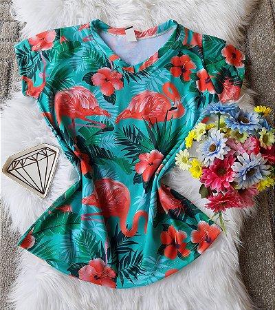 Blusa Feminina Estampa Animal no Atacado Flamingos Grandes