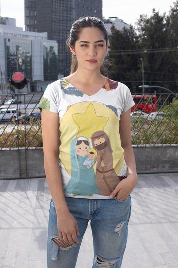 T shirt Feminina Religiosa no Atacado Família Sagrada Estrela