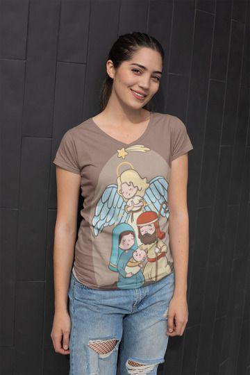 T shirt Feminina Religiosa no Atacado Família Sagrada