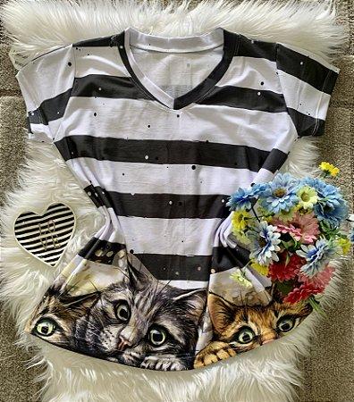 Blusa Feminina Estampa Animal no Atacado Gatos e Listras