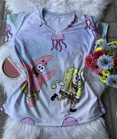 Camiseta Feminina Personagem No Atacado Bob Esponja e Patrick