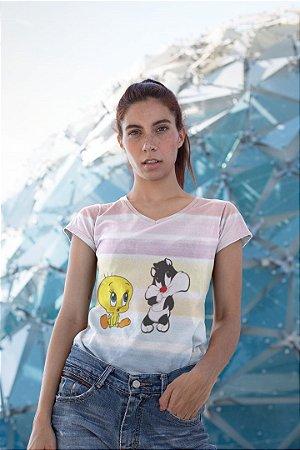 Camiseta Feminina Personagem No Atacado Frajola e Piu Piu