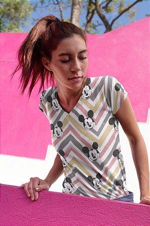 Camiseta Feminina Personagem No Atacado Mickey Rostos e Listras