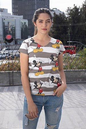 Camiseta Feminina Personagem No Atacado Mickeys e Listras
