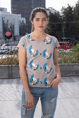 Camiseta Feminina Personagem No Atacado Snoopy e Charlie Brown