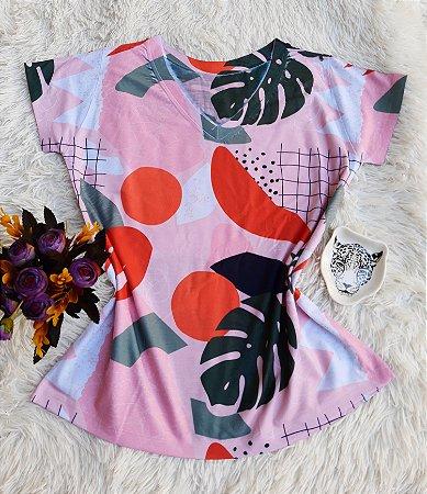 Camiseta Feminina Floral no Atacado Abstrata