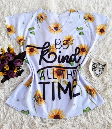 Camiseta Feminina Floral no Atacado Be Kind