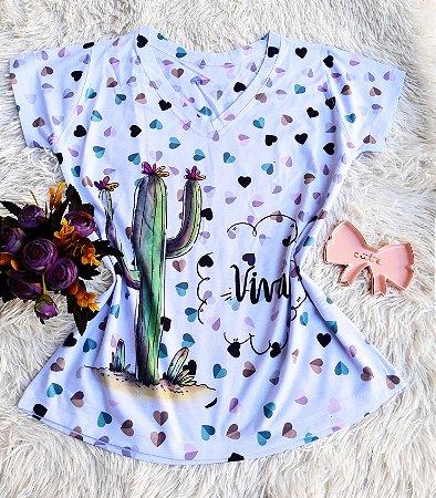Camiseta Feminina Floral no Atacado Cacto Viva