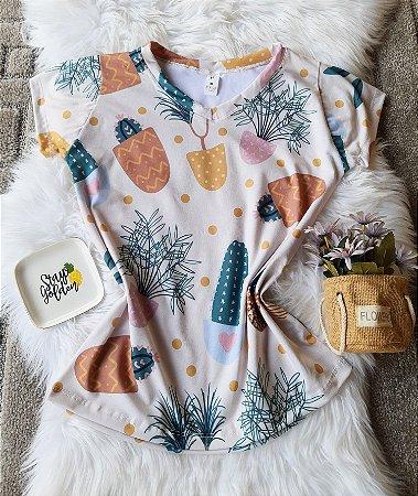 Camiseta Feminina Floral no Atacado Cactos Grandes Coloridos