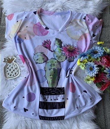 Camiseta Feminina Floral no Atacado Cactus