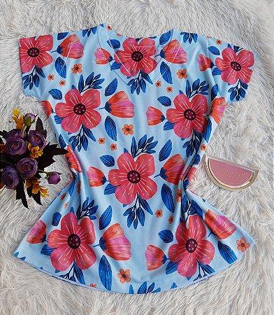 Camiseta Feminina Floral no Atacado Flores  Azul e Rosa