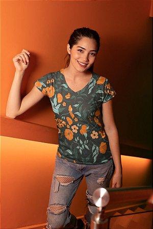 Camiseta Feminina Floral no Atacado Flores Laranjas