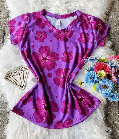 Camiseta Feminina Floral no Atacado Flores Violetas