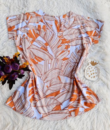 Camiseta Feminina Floral no Atacado Folhas Laranjas