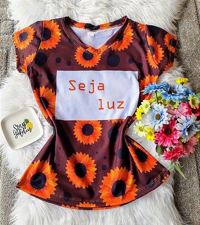 Camiseta Feminina Floral no Atacado Seja Luz