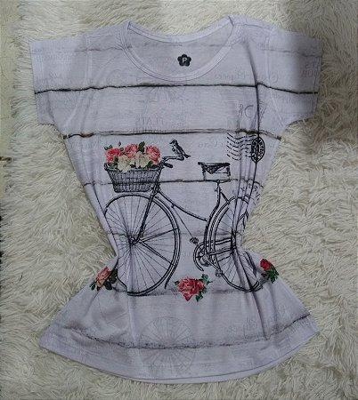 T-Shirt Feminina no Atacado Bike Listras