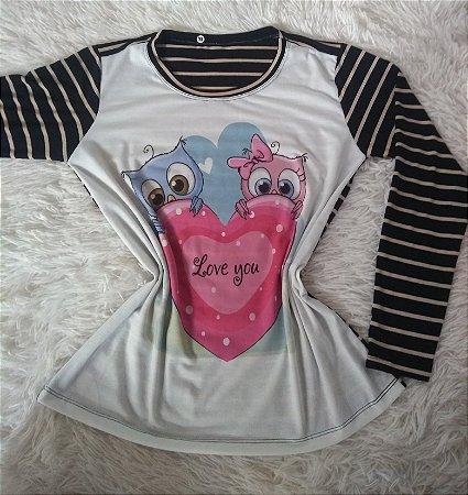 T Shirt Feminina no Atacado Love You