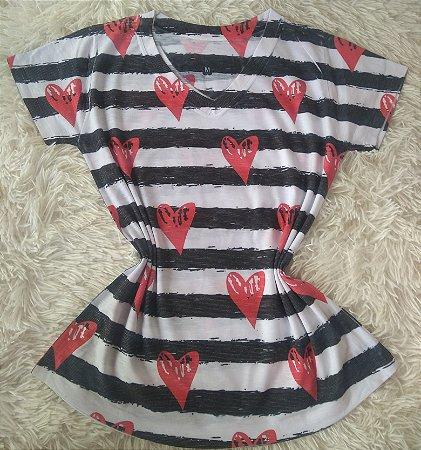 T Shirt Feminina Para Revenda Listras e Corações