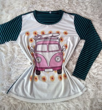 T-Shirt Feminina no Atacado Kombi Rosa