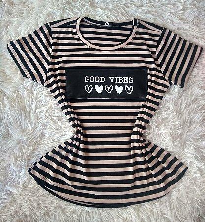 T-Shirt Feminina Para Revenda Good Vibes