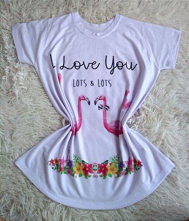 Tee Feminina no Atacado Flamingos Love You