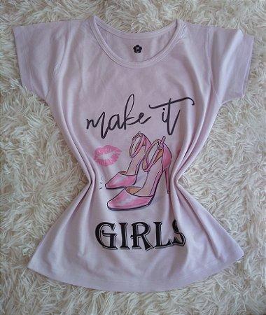 T-Shirt Feminina no Atacado Sapato Rosa
