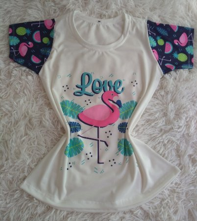 Tee Feminina no Atacado Flamingo Love