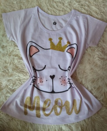 T-Shirt Feminina no Atacado Cat Meow