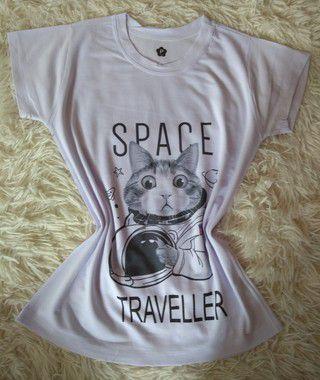 Tee Feminina No Atacado Cat Astronauta