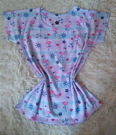 T Shirt Feminina Para Revenda Flamingos e Elementos