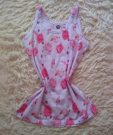 Camiseta Feminina Para Revenda Flamingos e Rosas