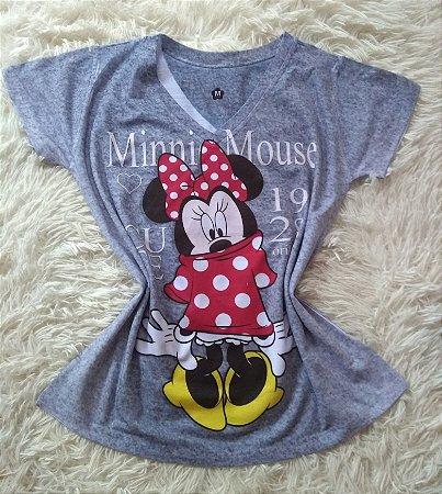 T-Shirt Feminina Para Revenda Minnie Mouse Fundo Cinza