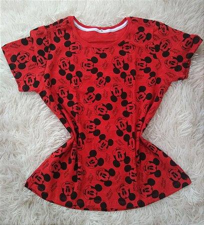 Blusa Feminina Para Revenda Mickey Mouse Fundo Vermelho