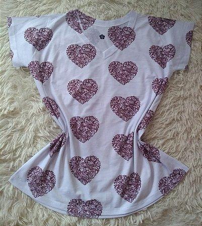 T-shirt Feminina Para Revenda Corações