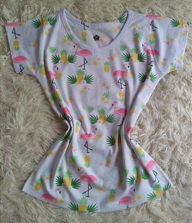 T-Shirt Feminina no Atacado Flamingos e Abacaxis