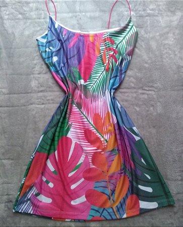 Vestido Suplex Folhas e Plantas Coloridas
