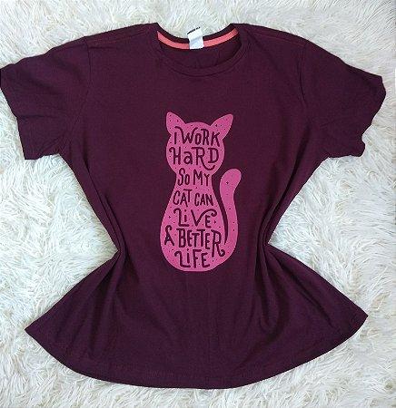 T Shirt Feminina No Atacado  Cat Work Hard
