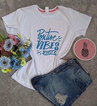 T-Shirt Feminina Para Revenda Positive Vibes