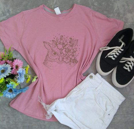 T Shirt Feminina Para Revenda Coruja Flores