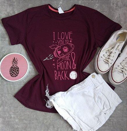 T-Shirt Feminina Para Revenda Love You To the Moon